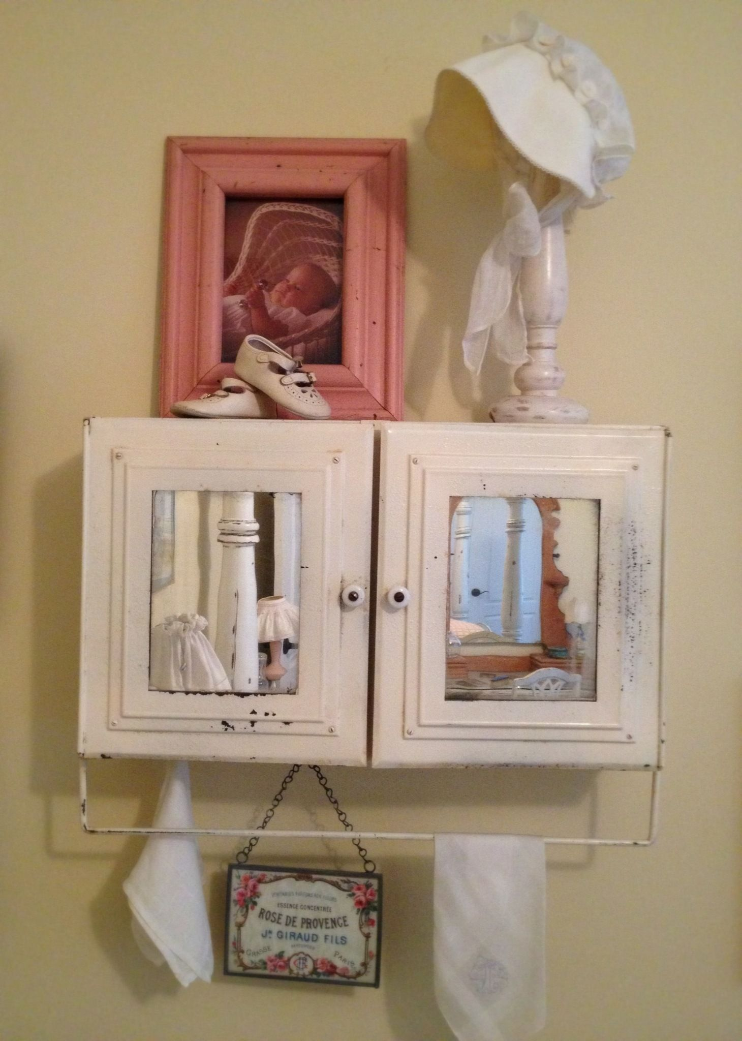 Lovely Antique Hanging Medicine Cabinet. Picture Of My Daughter And Her Baby Shoes.