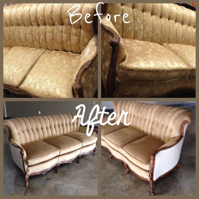 Before And After Reupholstery Project On A Vintage Sofa Repurposed Reupholster Furniture Reupholster Furniture Reupholster Reupholstery