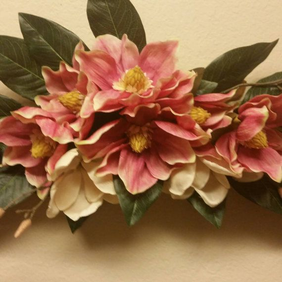 Check out this item in my Etsy shop https://www.etsy.com/listing/232110927/silk-floral-wall-swag-pink-and-cream