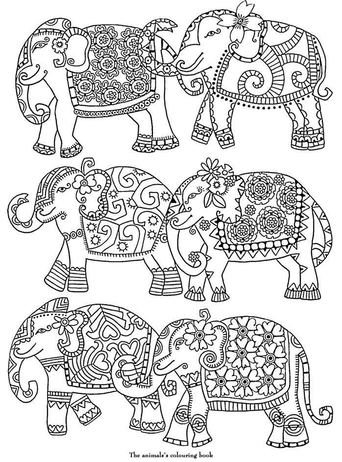 Elephants Abstract Doodle Zentangle ZenDoodle Paisley