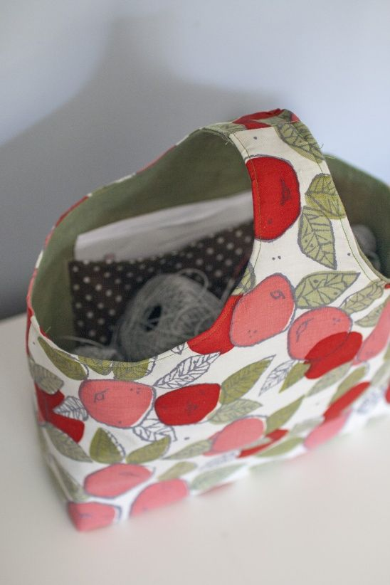 Reversible Box Tote With Apples By Clara Falk Knitted