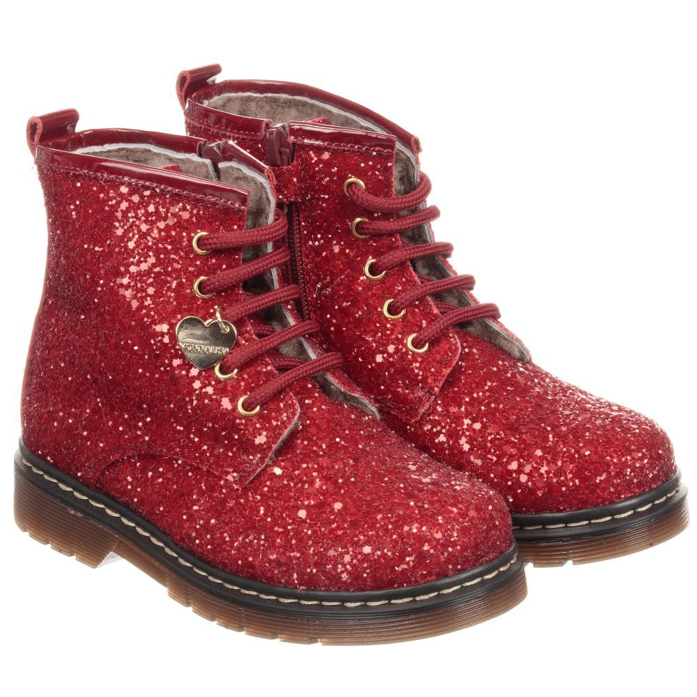 girls red ankle boots