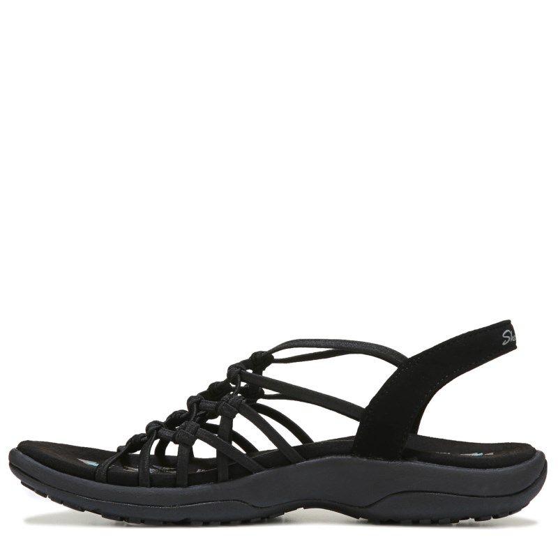 7b651fb52532 Skechers Women s Reggae Slim Forget Me Knot Medium Wide Sandals (Black)  Skechers