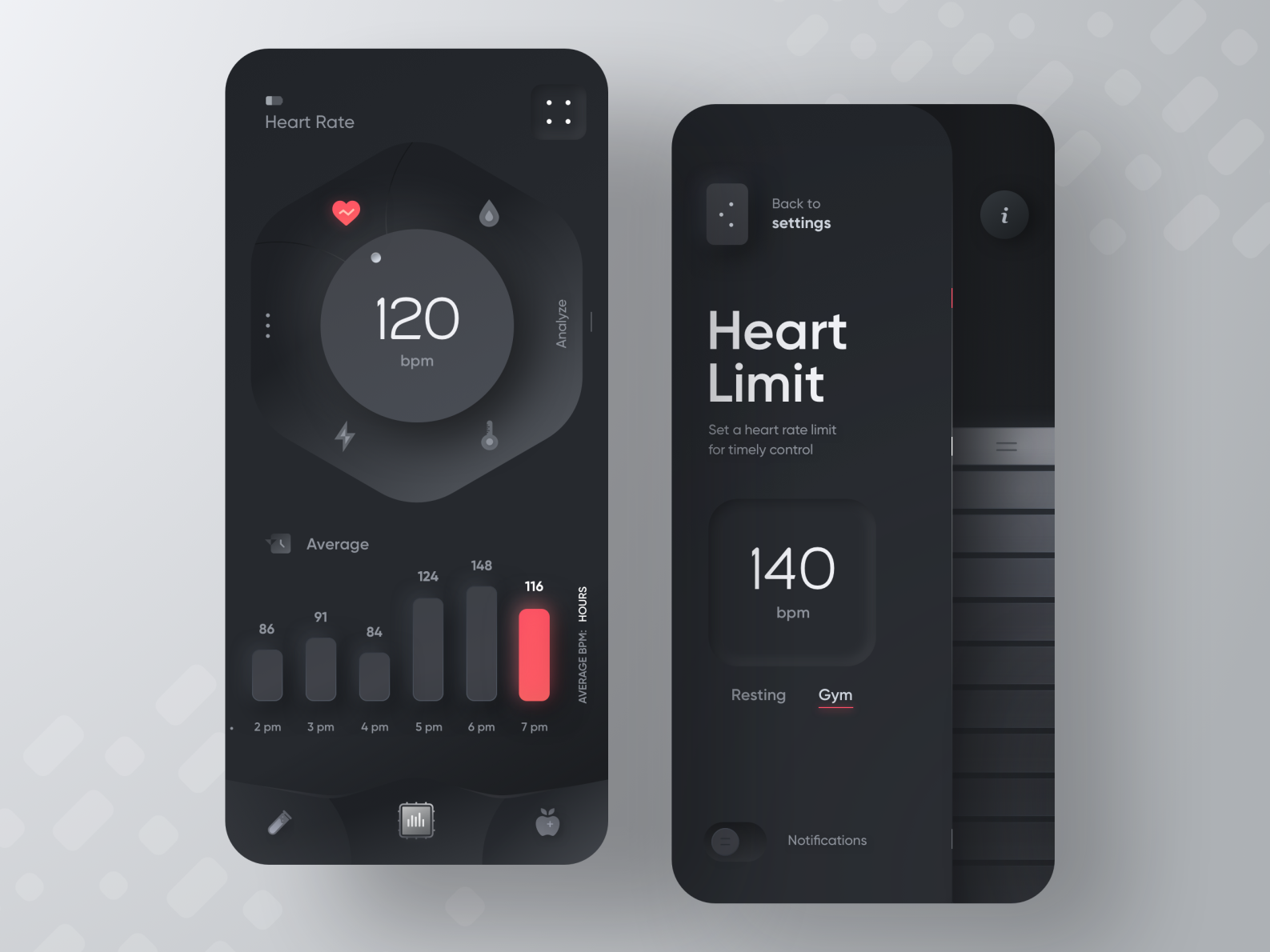 Fitness Device App -  Hi, friends! Here is the new app concept for a device that helps people monito...
