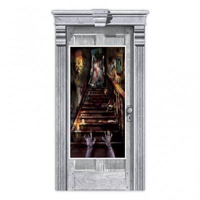 Halloween Haunted House Stairway Scene Setter Door Decoration - halloween scene setters decorations