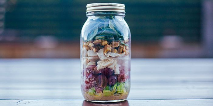 Mustard Chicken And Spinach Salad In A Mason Jar Recipe