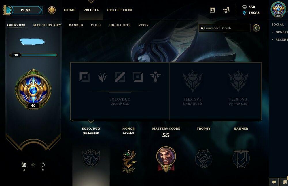 Challenger League of legends account season 8 with rewards