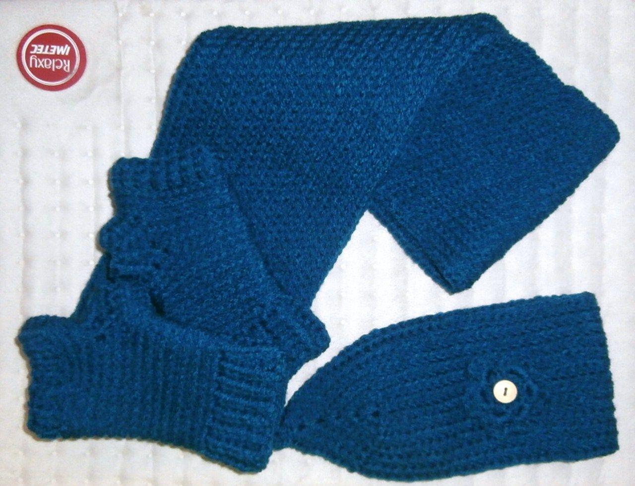mitones, bufanda y banda para el pelo a crochet