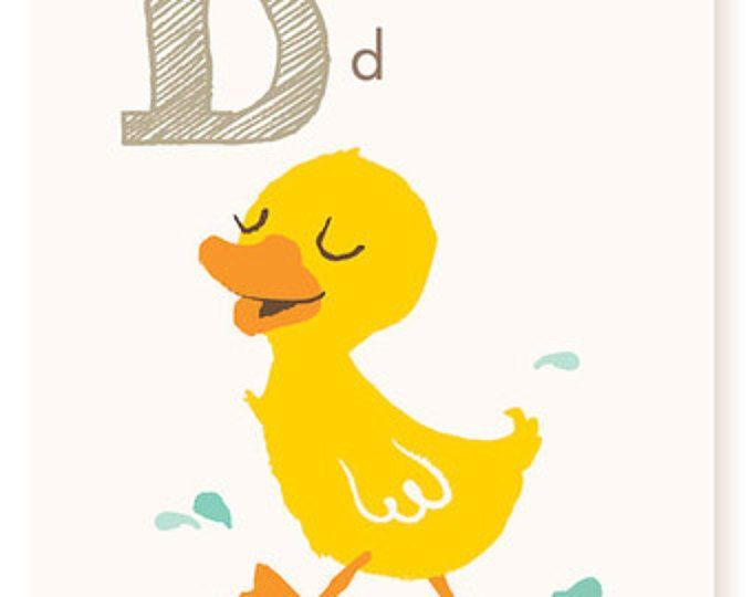 ABC card, D is for Duck, ABC wall art, alphabet flash cards, nursery ...