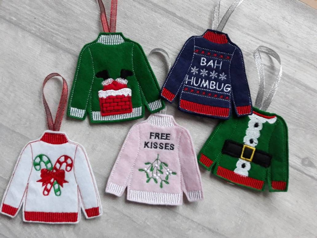 Christmas Jumper Decoration Bah Humbug Candy Cane Santa Etsy Christmas Jumpers Bah Humbug Handmade Christmas Decorations