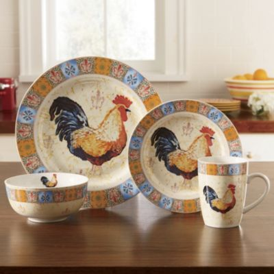 16 Piece French Country Rooster Dinnerware Set
