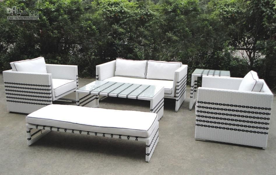 Wholesale Outdoor Furniture   Buy Black Strip White Rattan Sofa Set  Gardenu0026outdoor Furniture, $630.43 | DHgate