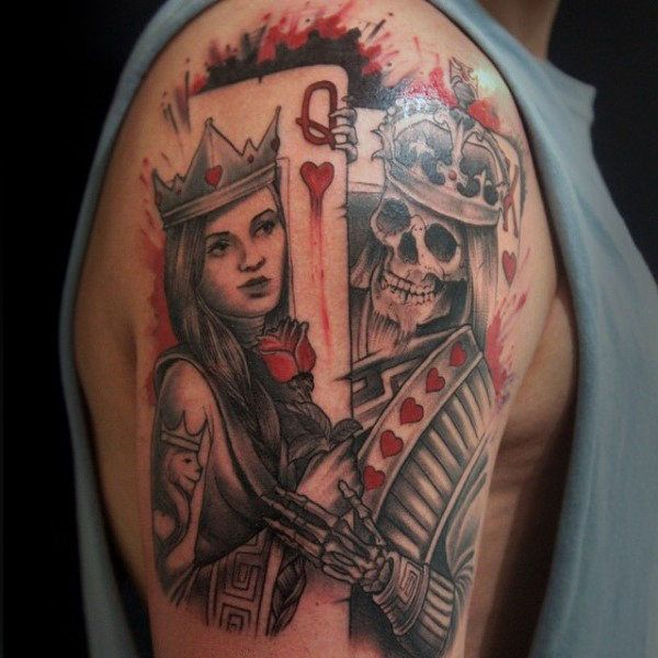 Mens watercolor king and queen playing card upper arm for Skeleton king tattoo