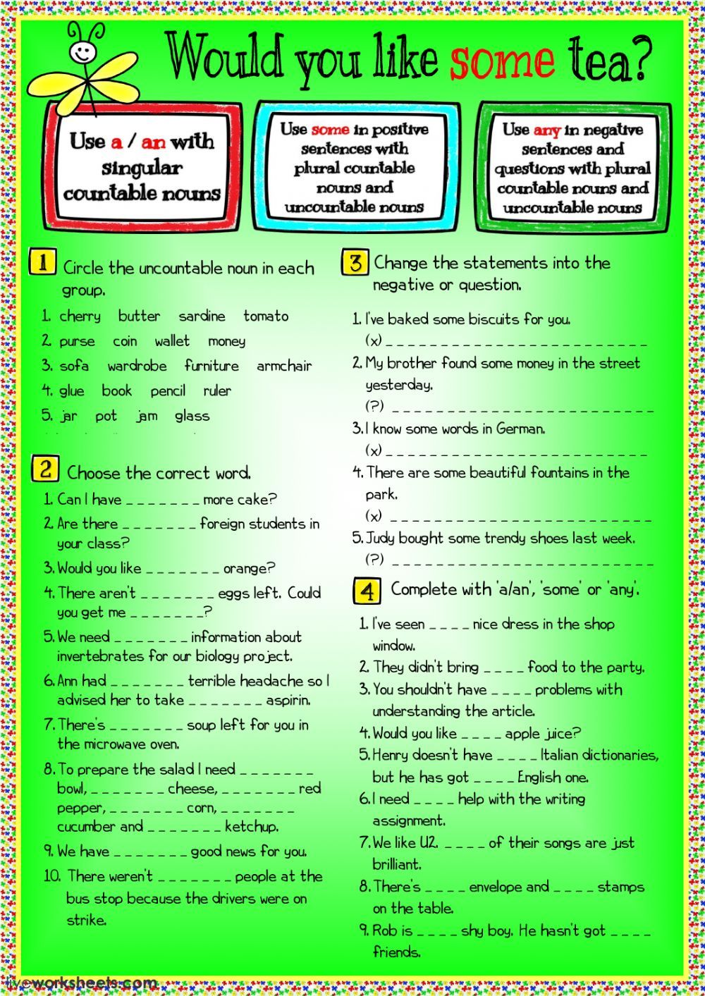 Quantifiers Interactive And Downloadable Worksheet You Can Do The Exercises Online Or Do English As A Second Language Teaching English Grammar Nouns Worksheet [ 1413 x 1000 Pixel ]