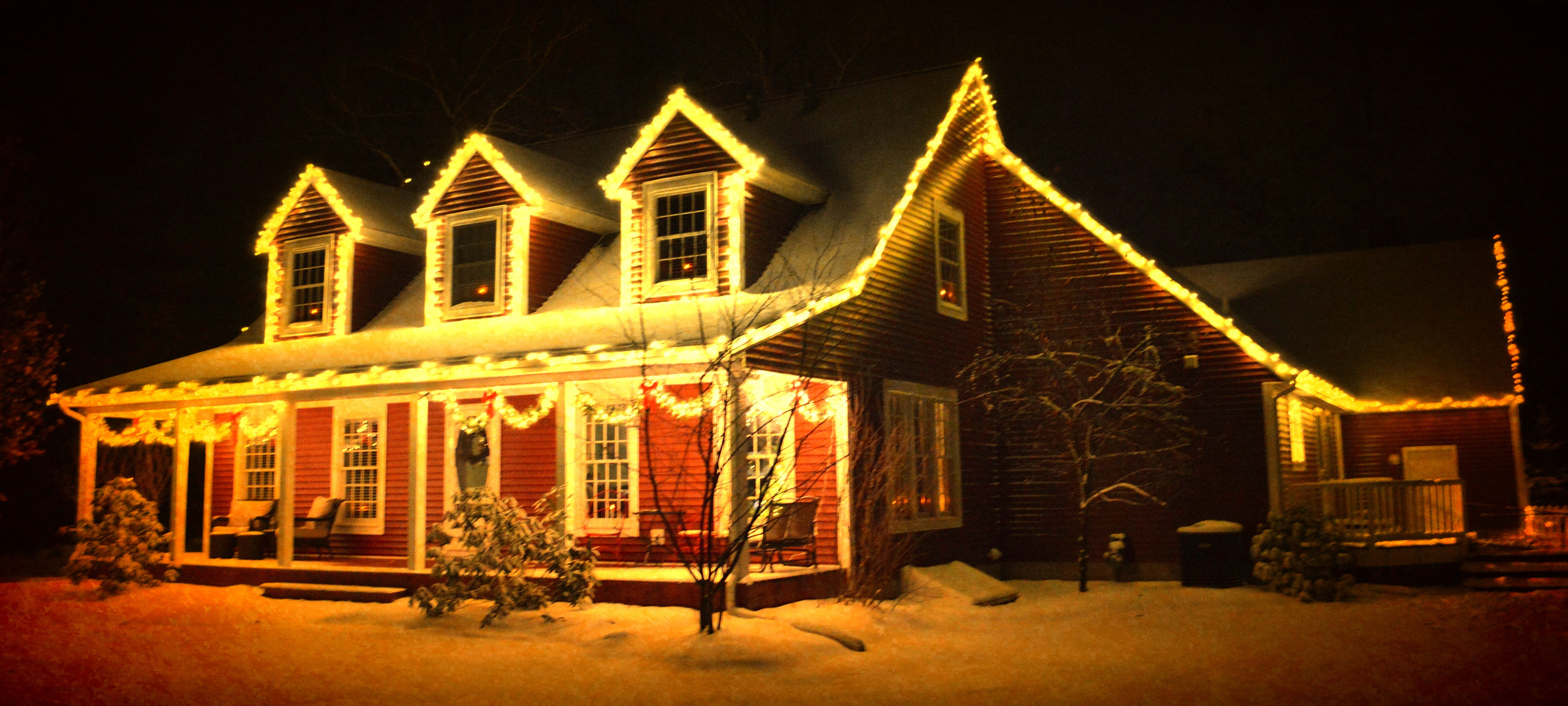 Vintage looking cape cod with white christmas lights vintage vintage looking cape cod with white christmas lights aloadofball Image collections