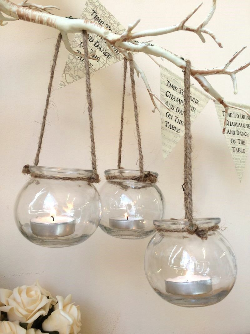 O Roselif Brand 12pcs Lot Hanging Tealight Holder Glass Orb