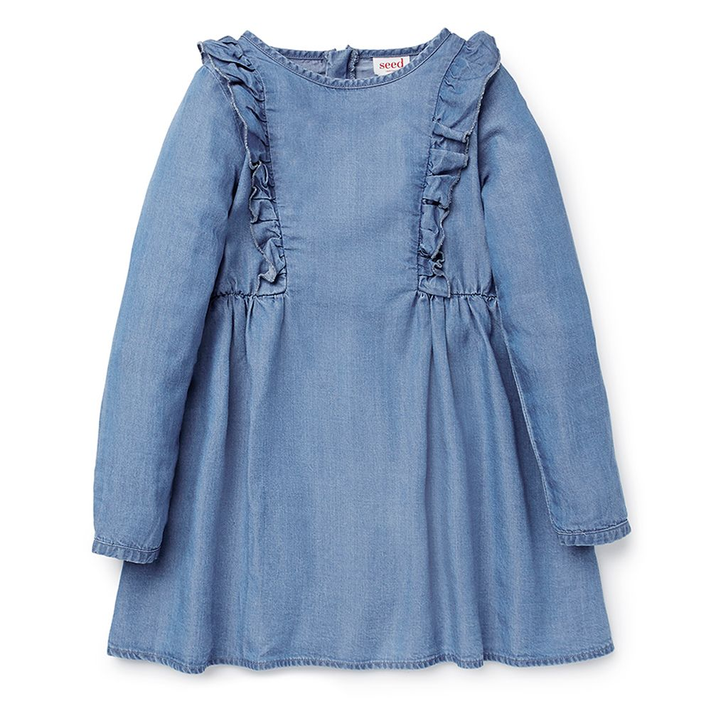 lyocell long sleeve chambray dress features frill detail with
