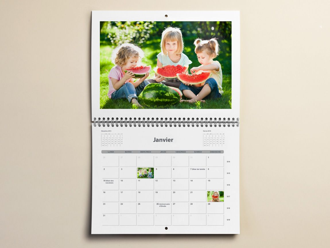 Calendrier Photo Mural A3 Double Page 2021 | Photobox | Calendrier