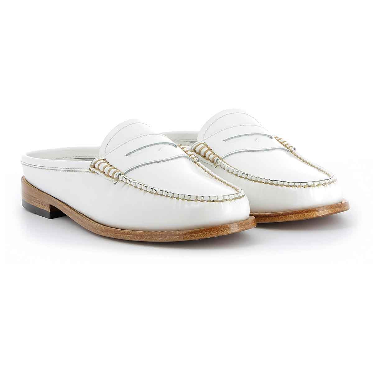 76cac0979b0 Weejuns Penny Slide Mule White Leather Loafer Mules