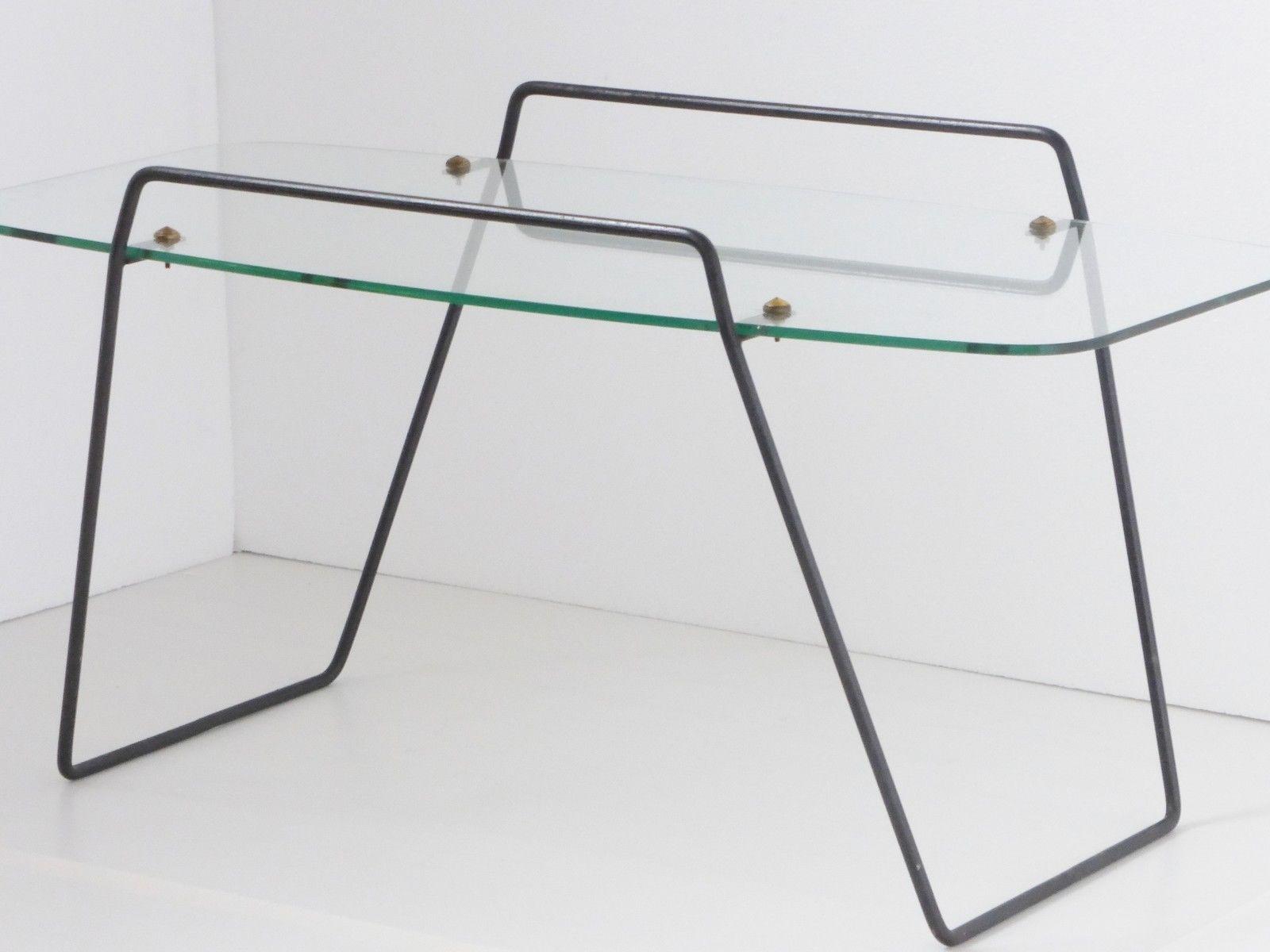 Guariche Superbe Table Basse 1950 Vintage Plateau Transparent 50s