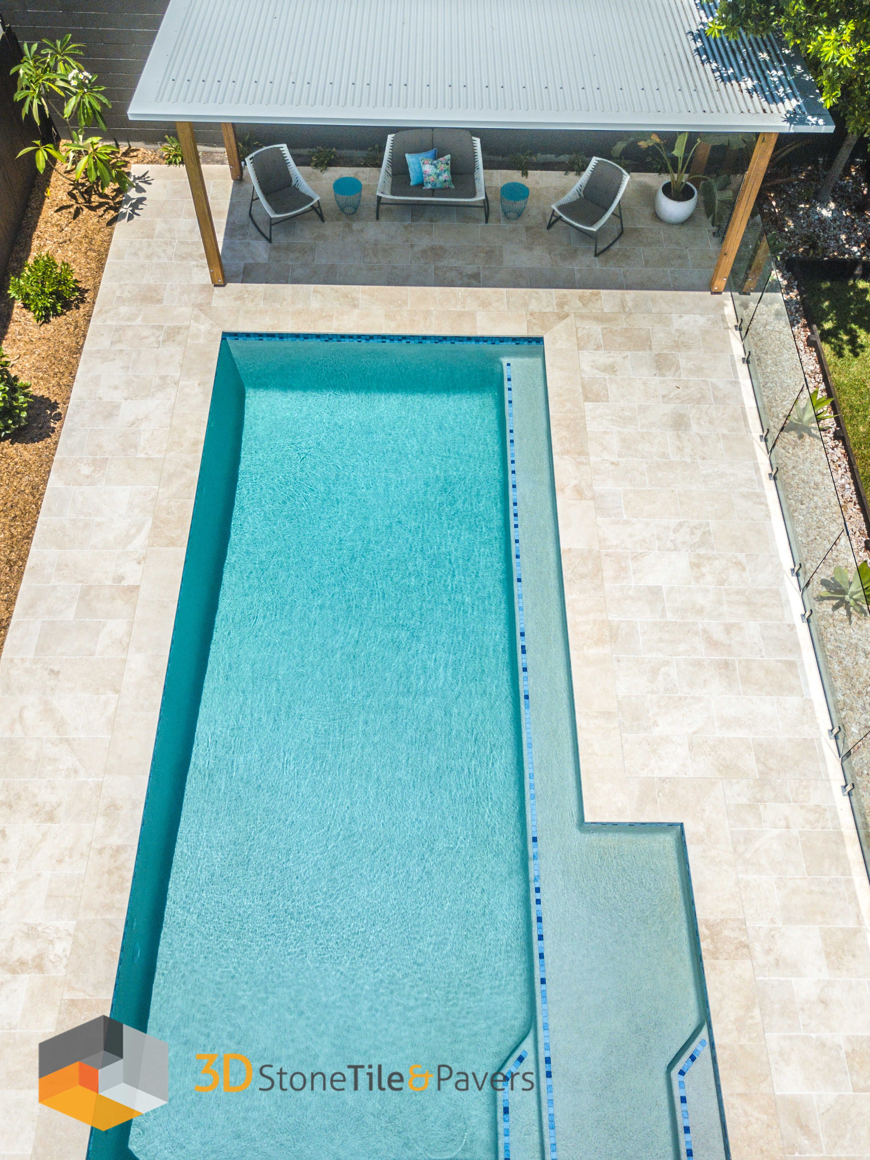 A Typical Australian Family Pool Travertine Crema Pool Copping 3d Stone Only Source High Quality Natural St Travertine Pool Pool Pavers Travertine Pool Tile