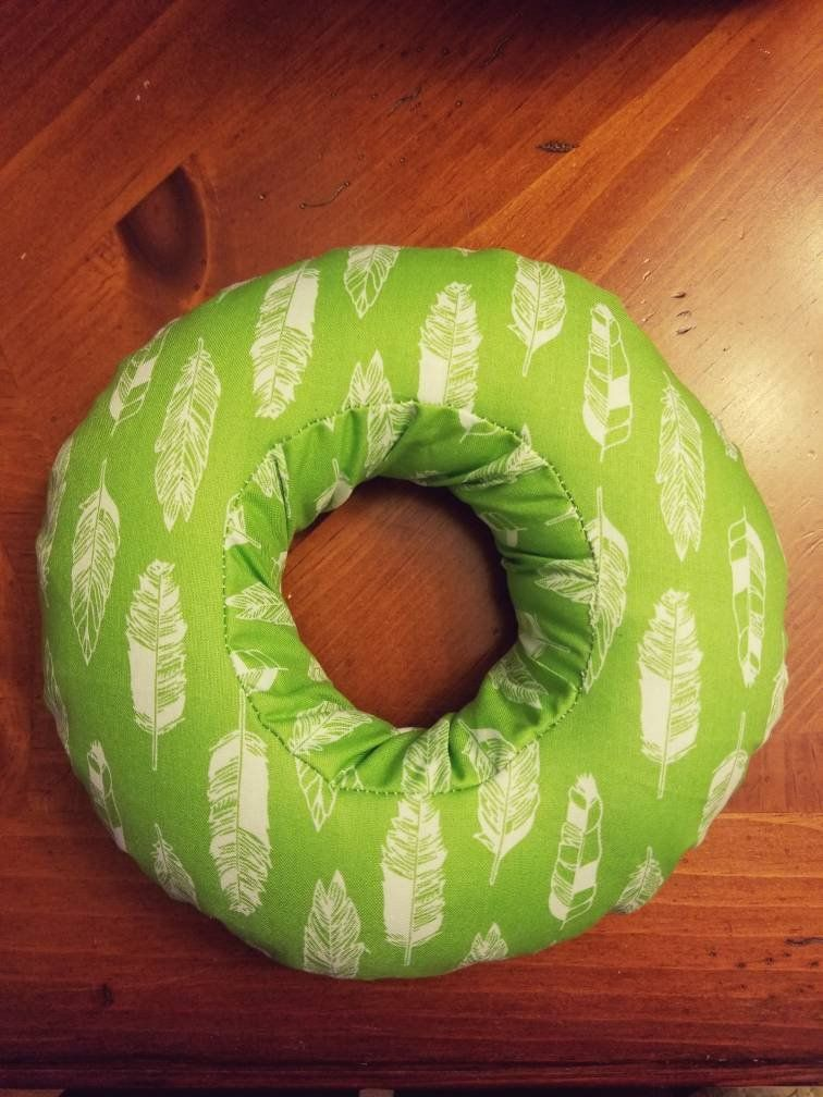 Ear Pillow Piercing Pillow Earbud Pillow Ear Donut Green Feathers Pillows Bean Bag Chair Piercings