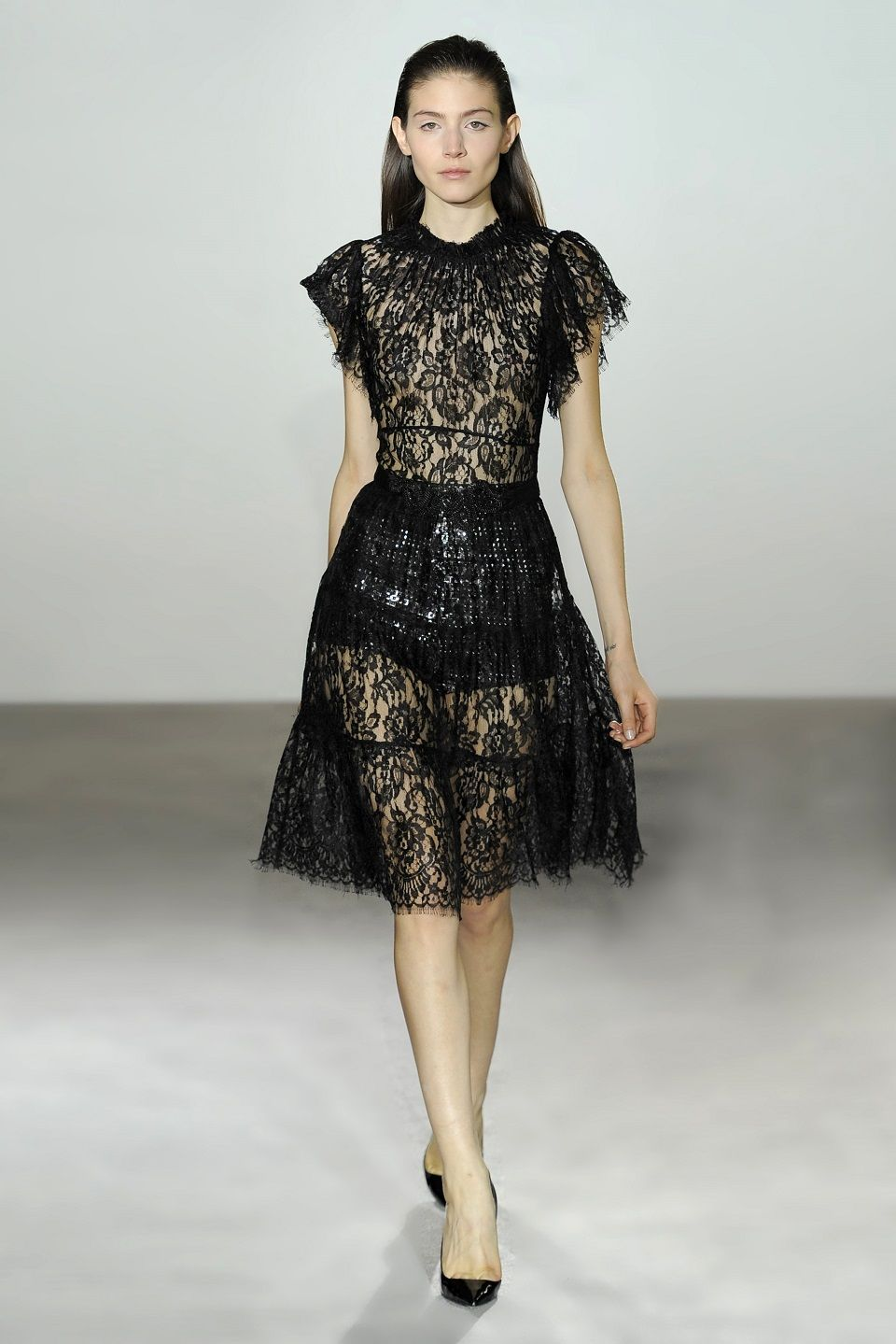 Collette Dinnigan French Noir Lace Short Sleeve Dress