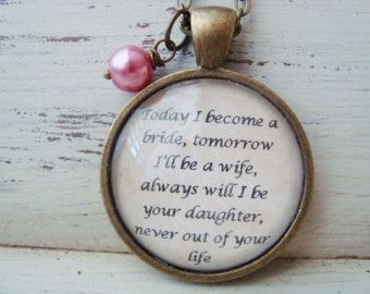 Mother of the bride pendant, quote pendant,mother of the bride ...