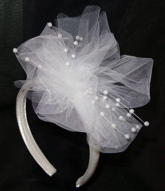 Flower Girl Headband Fascinator in Tulle n Pearls by lovelygifts, $25.00