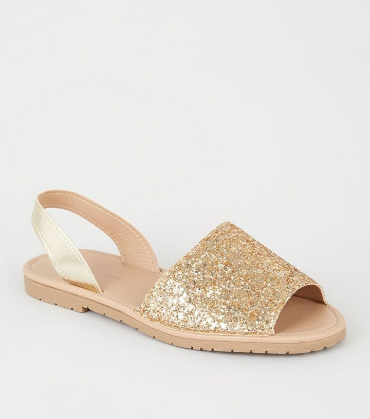 926869d13c9 Gold Metallic and Glitter Slip On Flat Sandals in 2019
