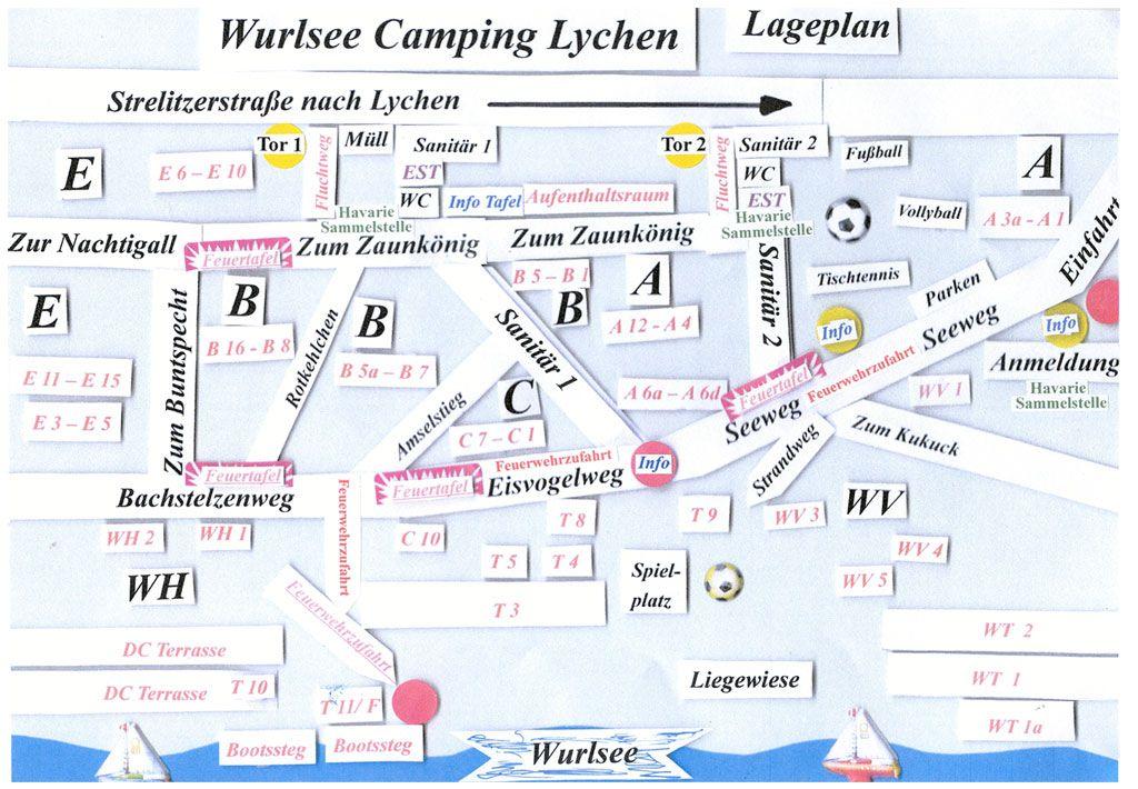 Lageplan Wurlsee Camping Lychen Einfahrt Kontakt Camping