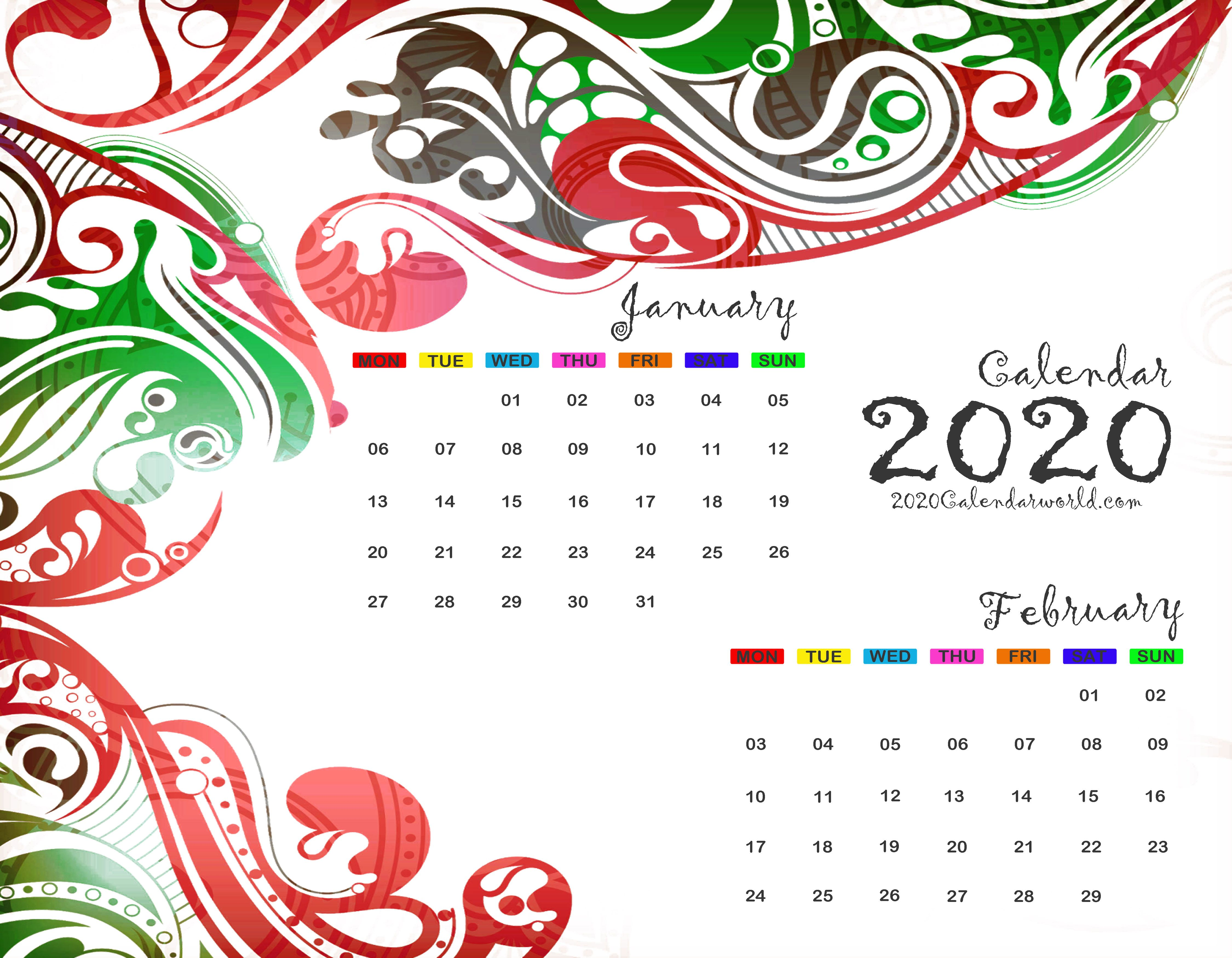 Free January and February 2020 Calendar Printable Template