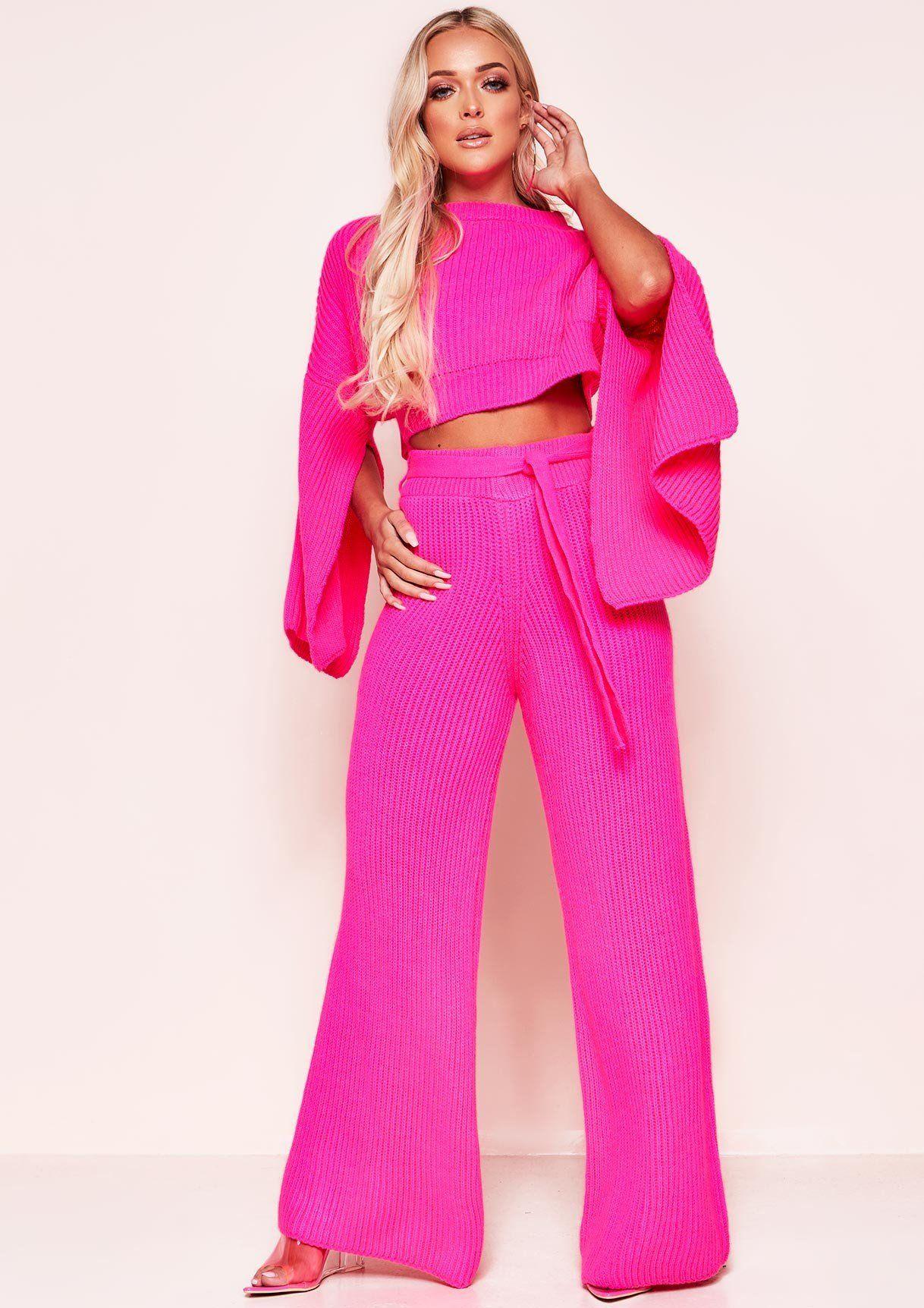 cbc4fc9c679e Missyempire - Francie Neon Pink Knit Ribbed Split Sleeve Co-ord Set
