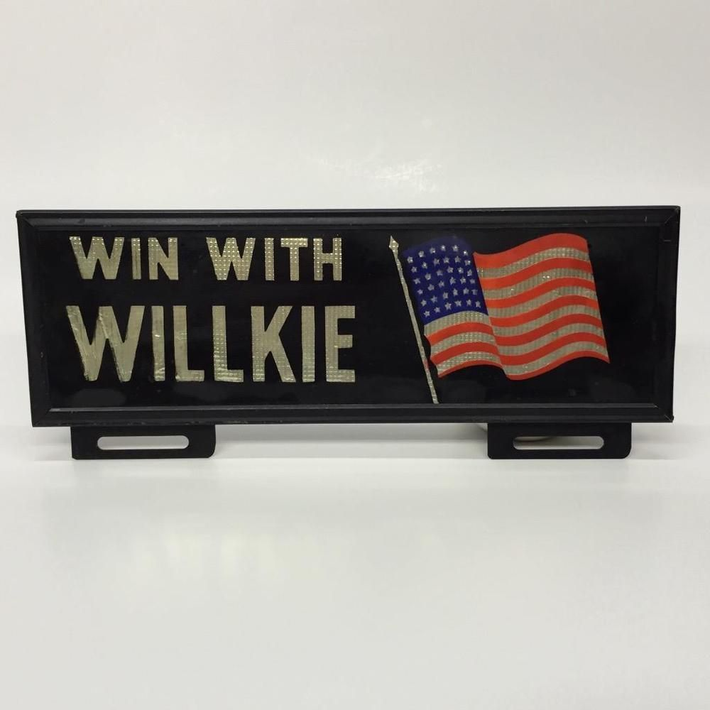 Wendell Willkie Framed License Plate Topper 1940 Presidential Election US Flag | eBay