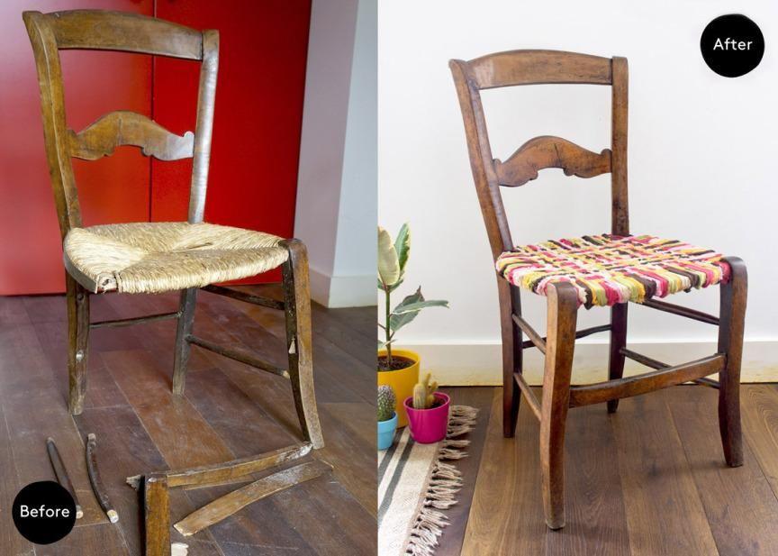 Un original tapizado para una vieja silla restaurada, Â¡y con ropa ...