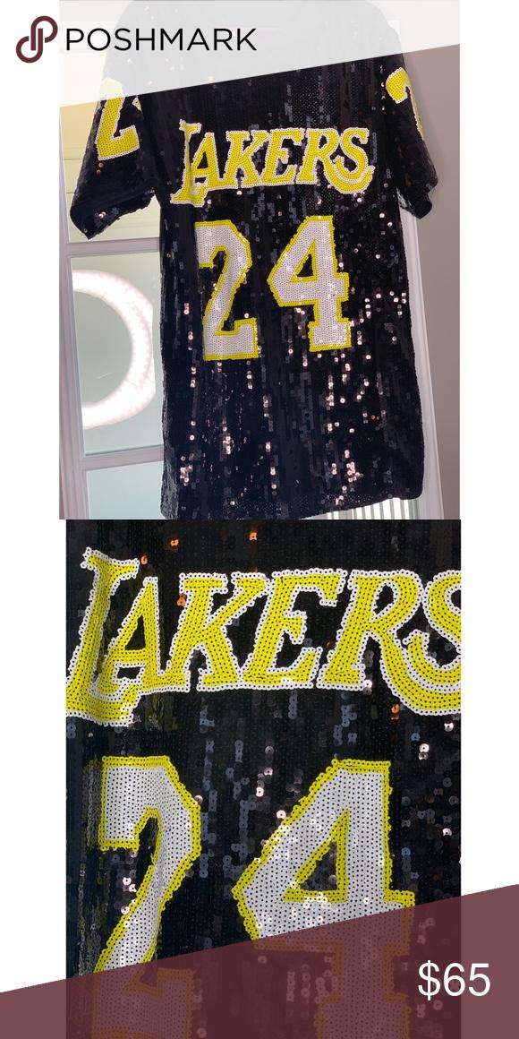 Lakers Sequin Jersey Dress #24 T shirt Jersey Dress | Size