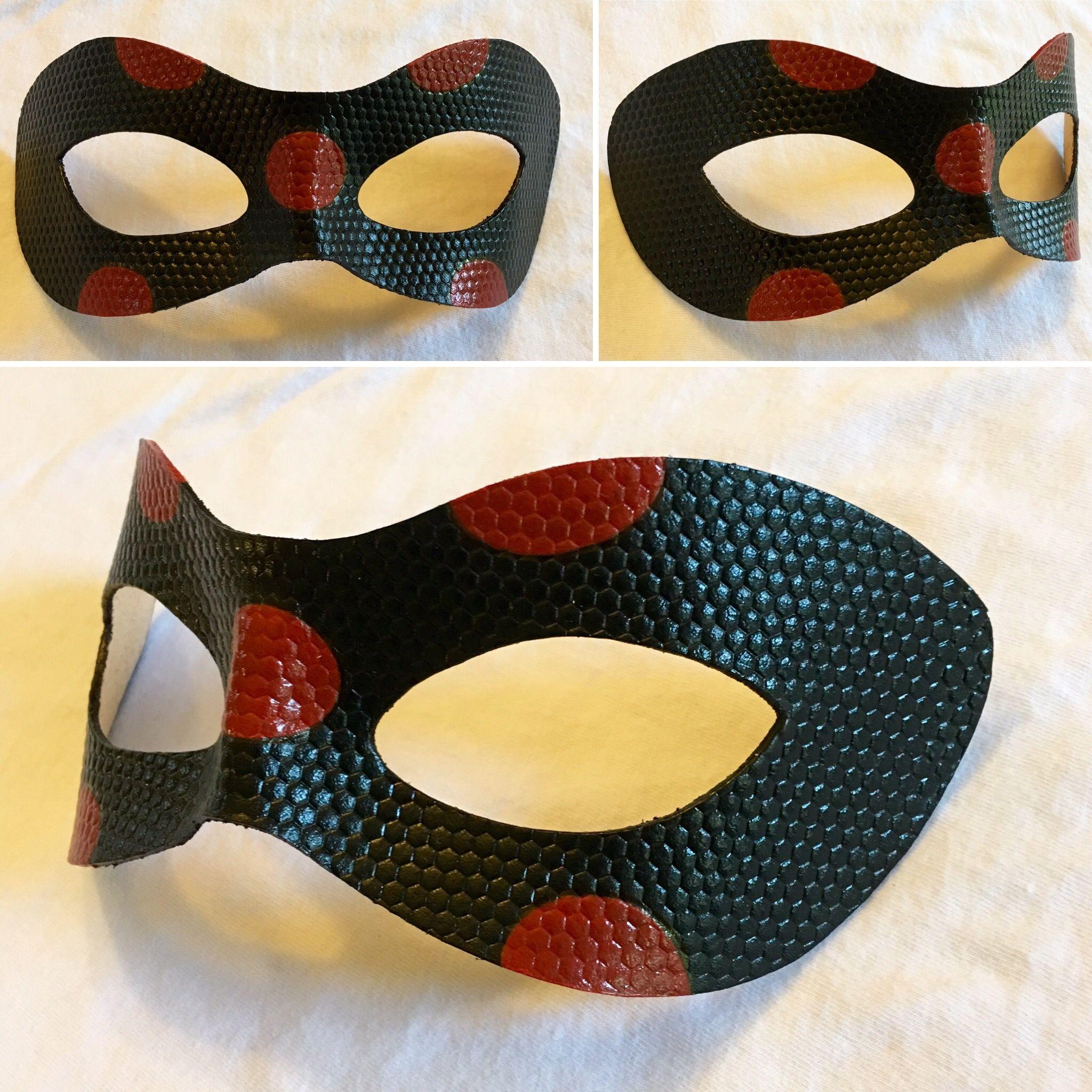 ca9380fc48 Reverse Ladybug leather cosplay mask