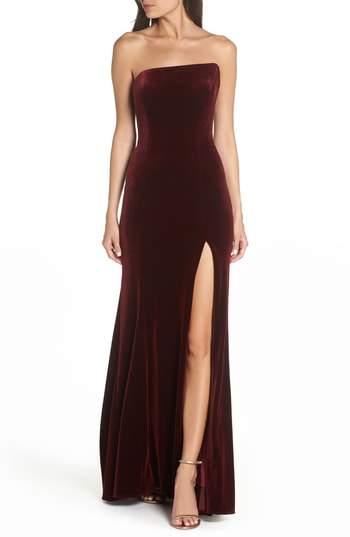 c605f489 Women's Xscape Strapless Velvet Gown, Size 2 - Black in 2019 | Feel ...