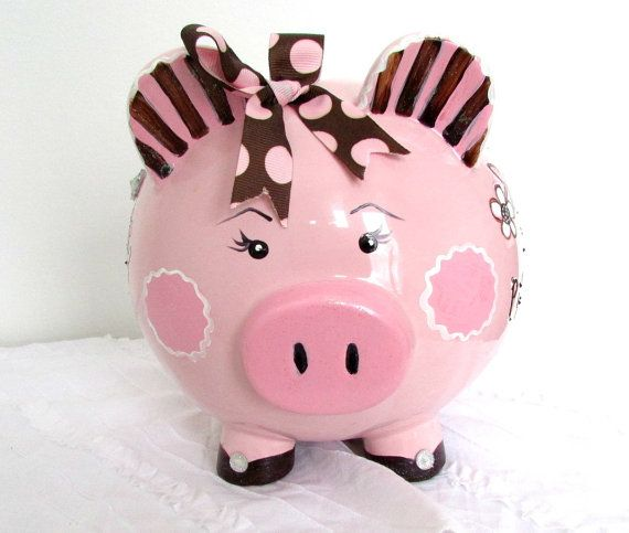 Painted Piggy Bank Large Piggy Bank Pink And Brown Alcancias Cerditos Cochinitos
