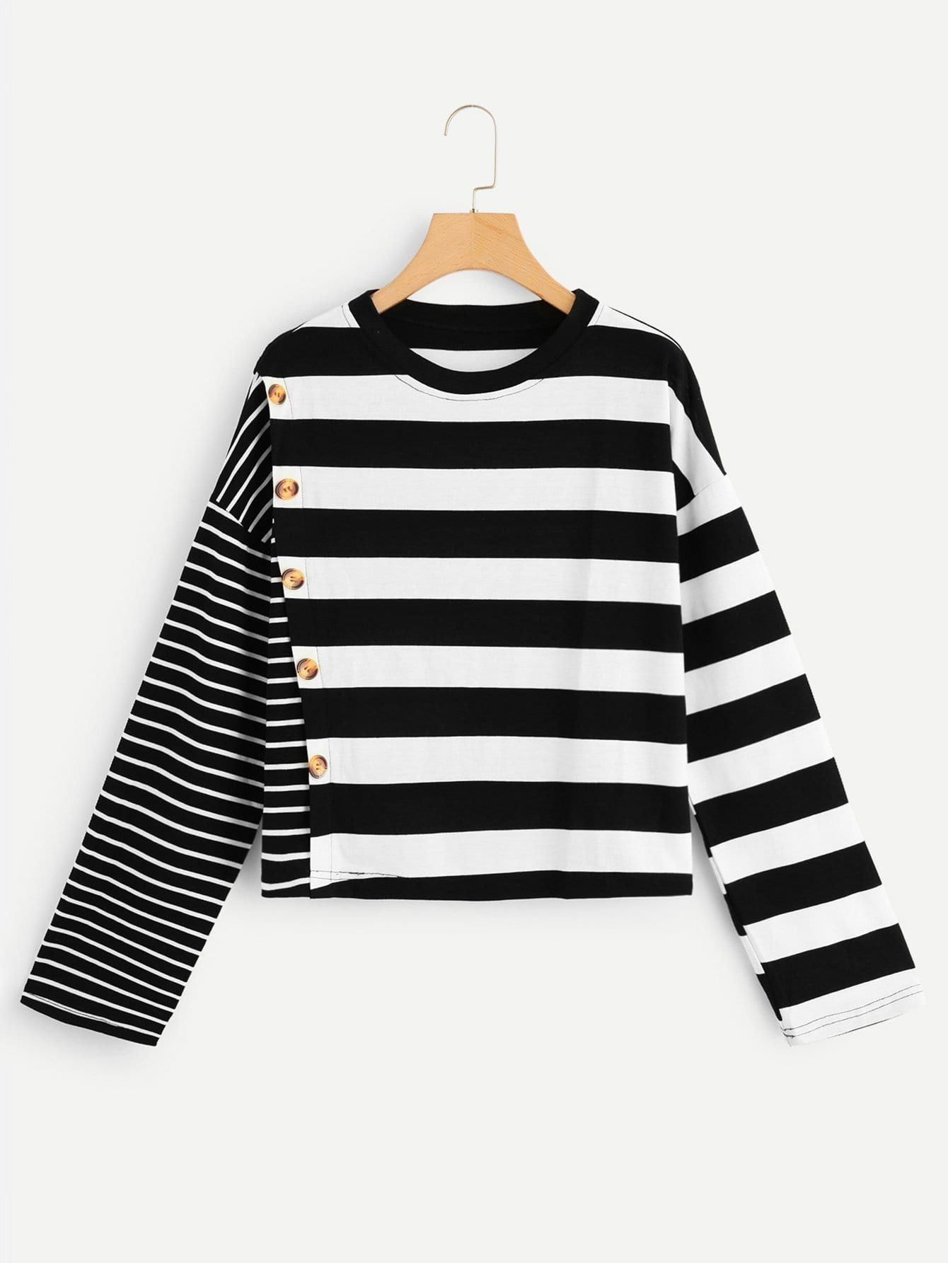 50b1f49134 Women Casual Striped Regular Fit Round Neck Long Sleeve Pullovers Black and White  Regular Length Button Decoration Striped Tee