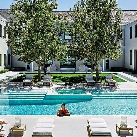 Look Inside The Lavish Los Angeles Residence Of Alexandra Von Furstenberg And Dax Miller Pool Houses Pool Landscape Design Pool Landscaping