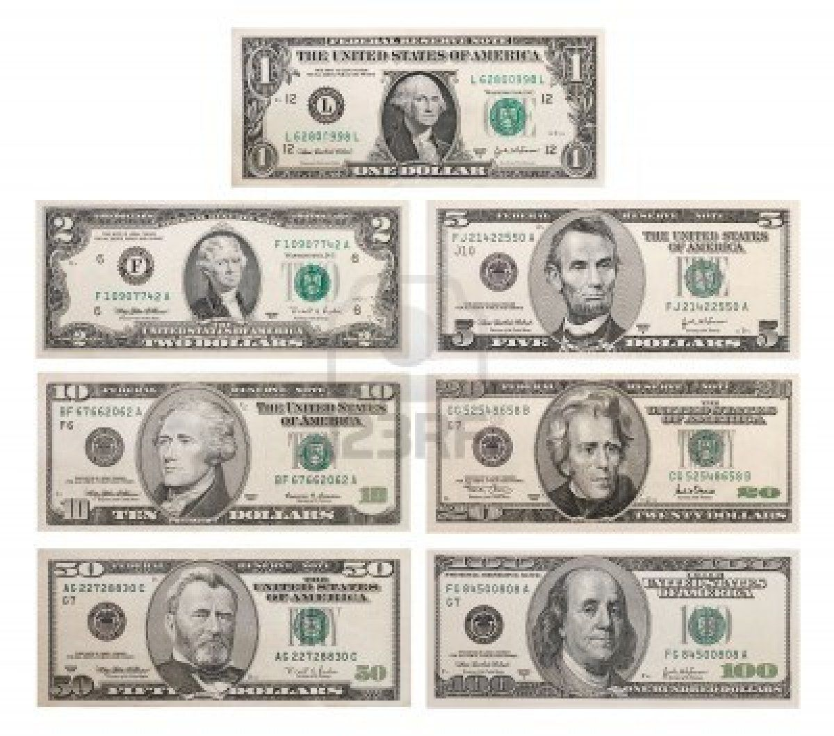 Image result for dollar bills denominations