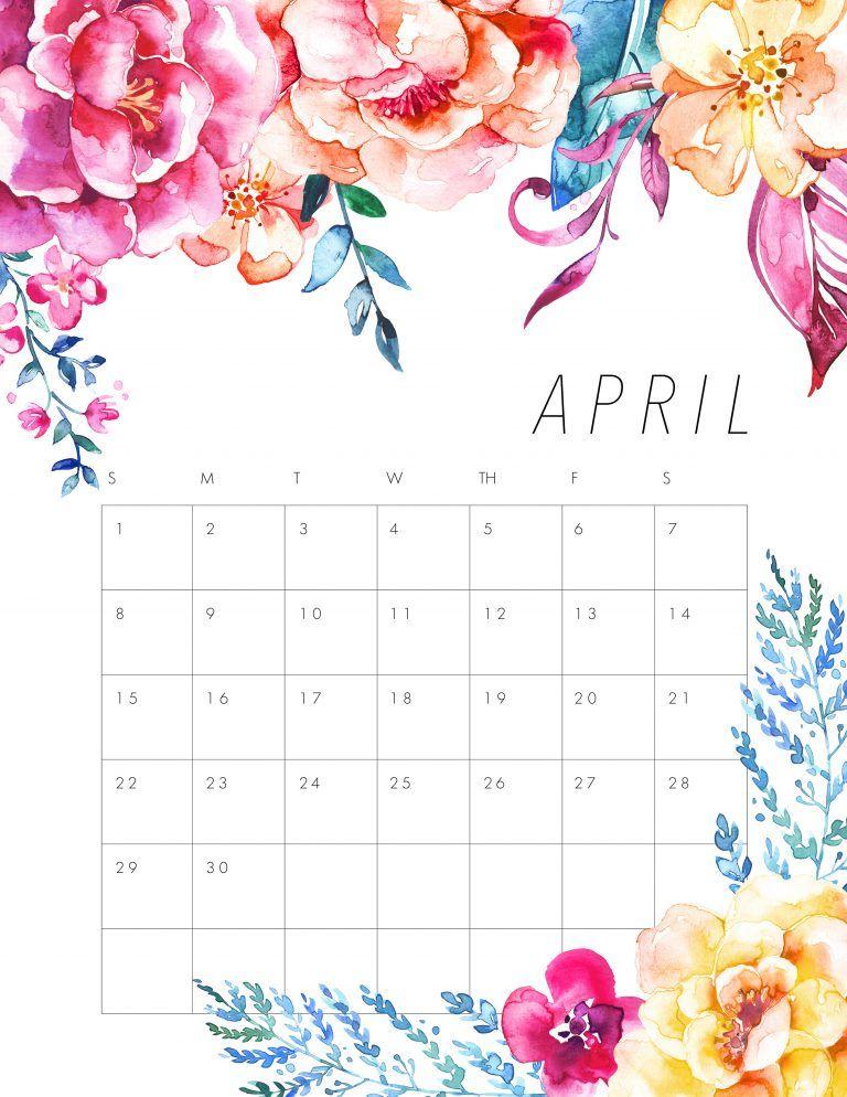free calendar april 2018