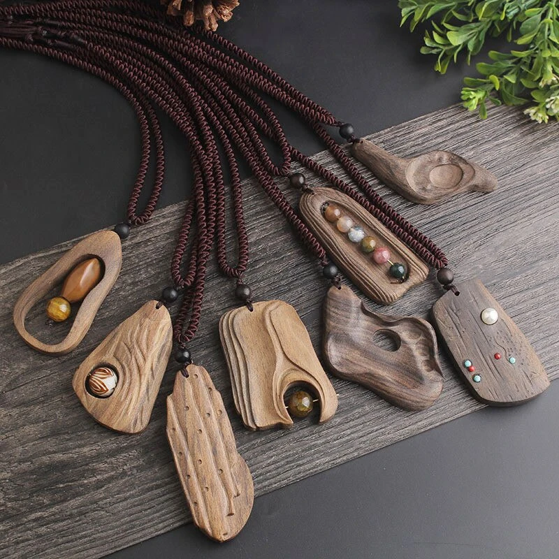 Sandalwood Natural Stone Pendant Necklace -   20 women's jewelry Necklace stone pendants ideas
