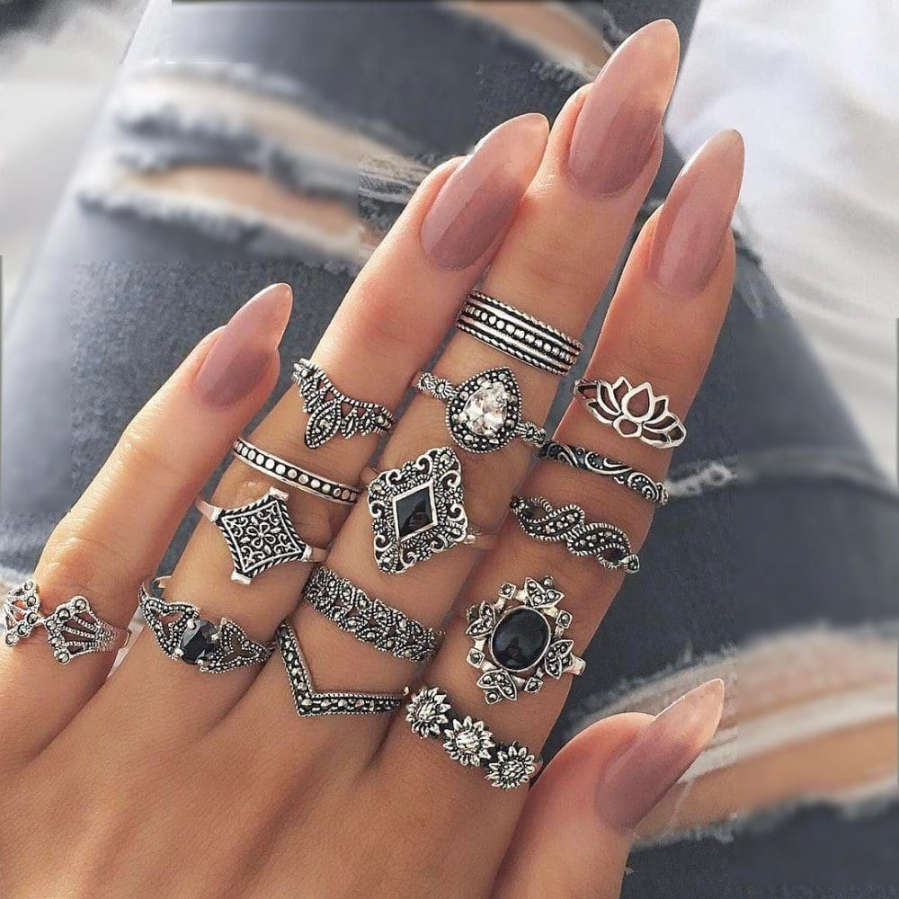 😍up to 70%off - Price: $ 17.55 + 🛫FREE Shipping For limited time for this Hollow Lotus Gem Silver Rings 15CS/Set Bohemian Retro Crystal Flower Leaves Set  #insta #love #passion #elegant #jewelrygram #jewelrydesign #jewelrylover