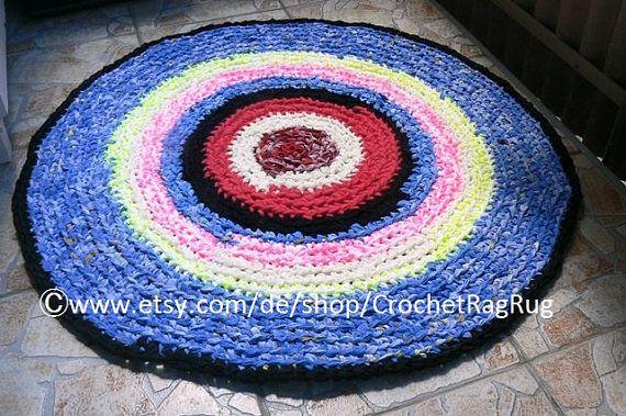 Bohemian Gypsy Round Rug Crochet Round Mat Bathroom Eco Friendly