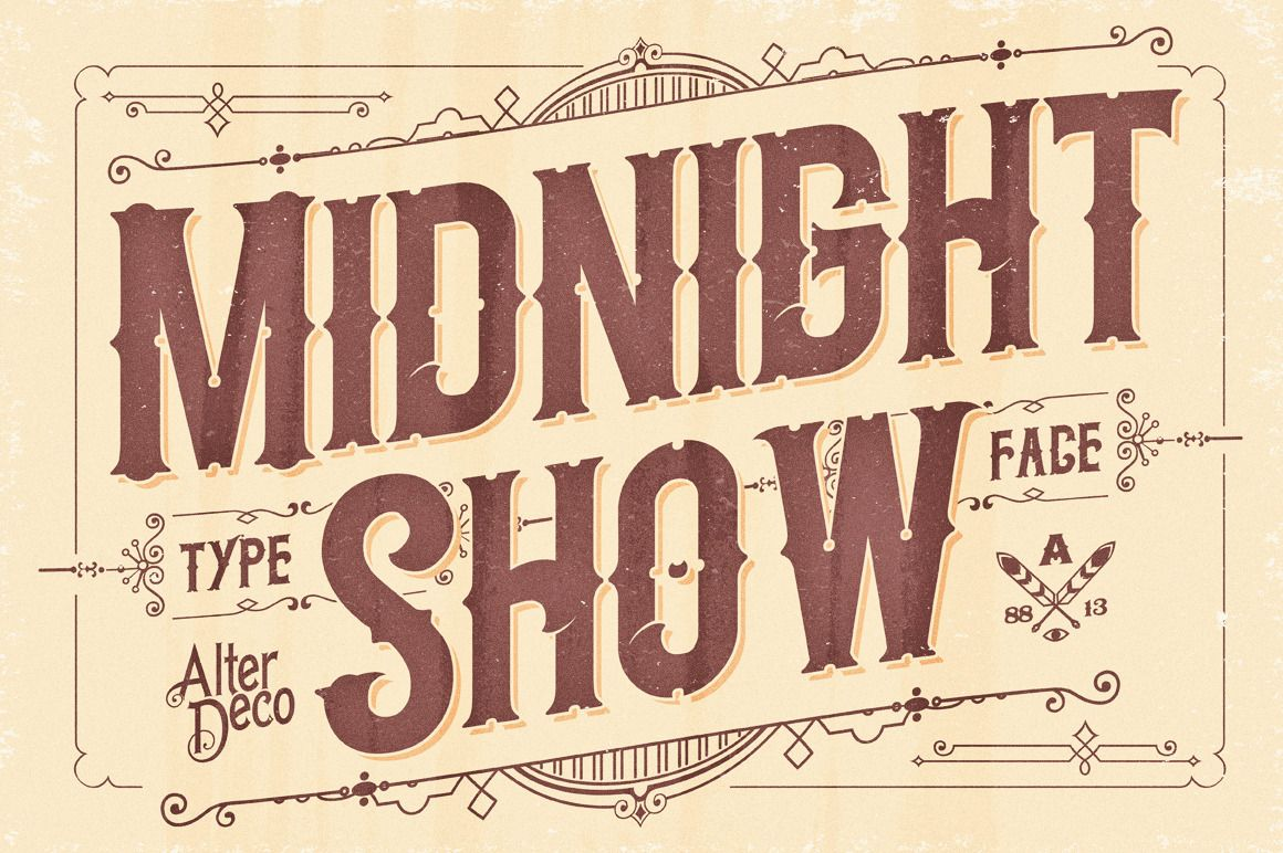 Midnight Show Typeface Old School Fonts Vintage Typography Lettering