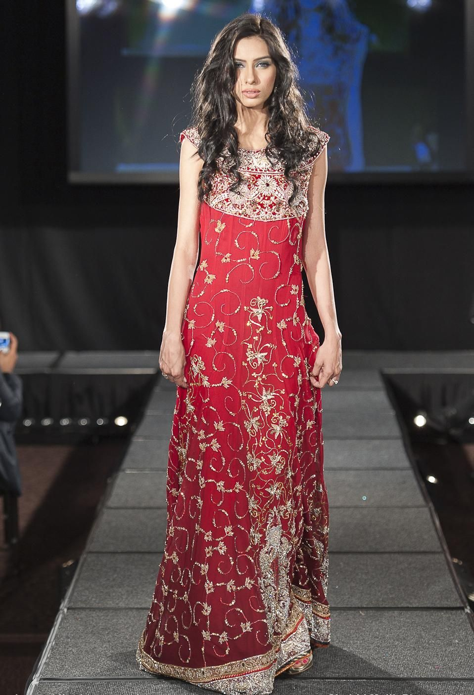 Red Amp Golden All Over Embroidered Full Length Bridal Party