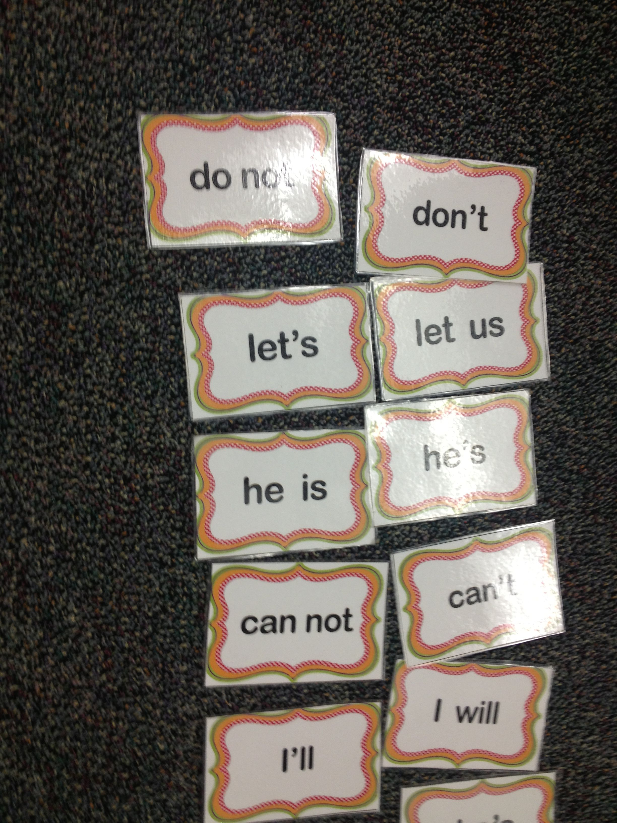 Contraction Memory Game Center Activity