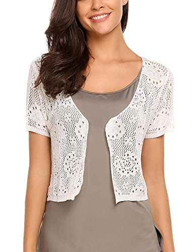Ladies Front Open Crochet Knit Bolero Shrug Women Short Sleeve Casual Crop Top